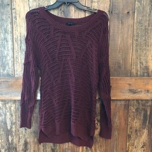 Mine, S, Maroon Lightweight Cable Sweater